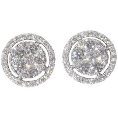 Diamond Halo Illusion Stud Earrings