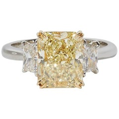 GIA Certified Fancy Yellow Diamond Engagement Ring
