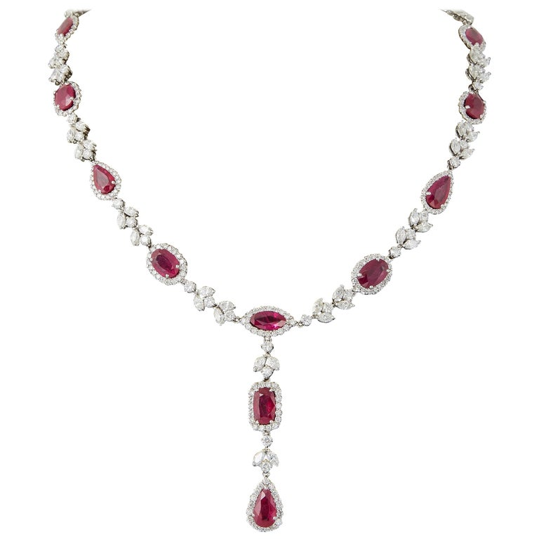 Multi Shape Ruby and Diamond Drop Necklace For Sale
