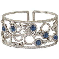 Italian Sapphire and Diamond Cuff Bracelet