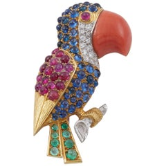 Sapphire Ruby Emerald Diamond Coral Gold Parrot Brooch