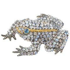 Moonstone Frog Brooch