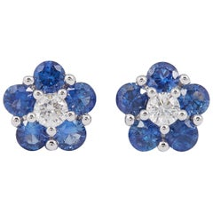 Sapphire and Diamonds Flower Shape Studs Earrings