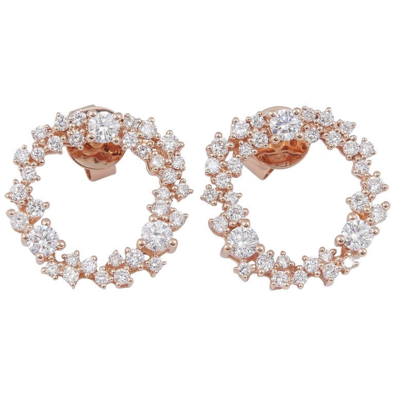Rose Gold and Diamond Hoop Studs Earrings