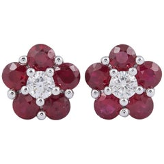 Ruby Flower Diamond Studs Earrings