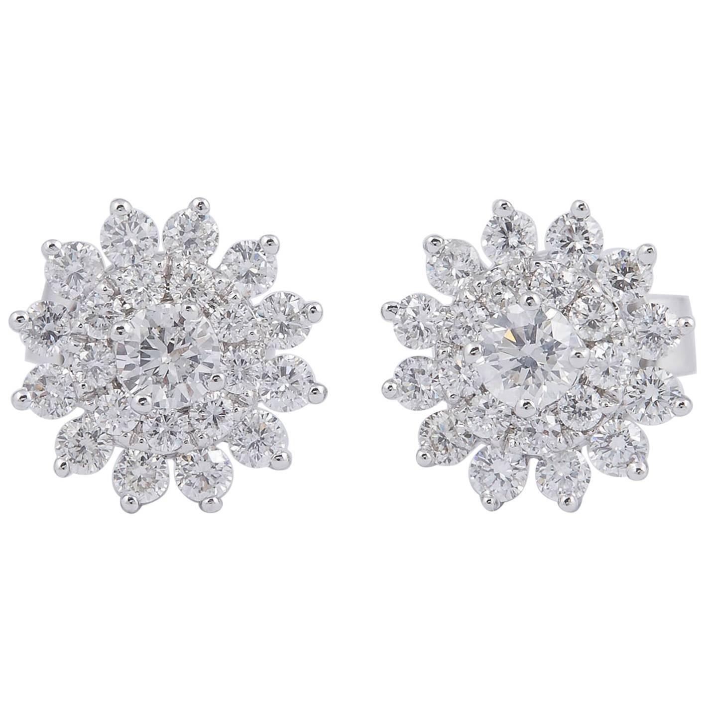 Diamond Cluster Star shaped Earrings Studs