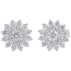 Diamond Cluster Star shaped Earrings Studs