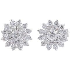 Diamond Cluster Flower Earrings Studs