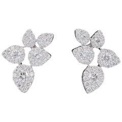 Flower Leaves Diamonds Cluster Earrings