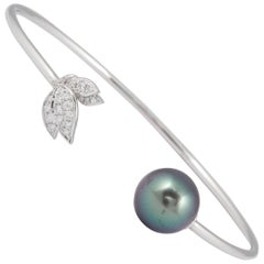 Tahitian Pearl Diamond Leaf Shape Bangle Bracelet 0.22 Carats 18K White Gold