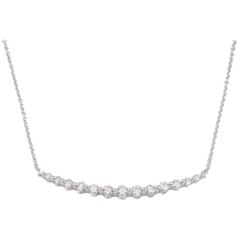 Graduated Diamond Bar Necklace