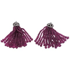 Adria De Haume Pink Sapphire Diamond Gold Earrings Pendants