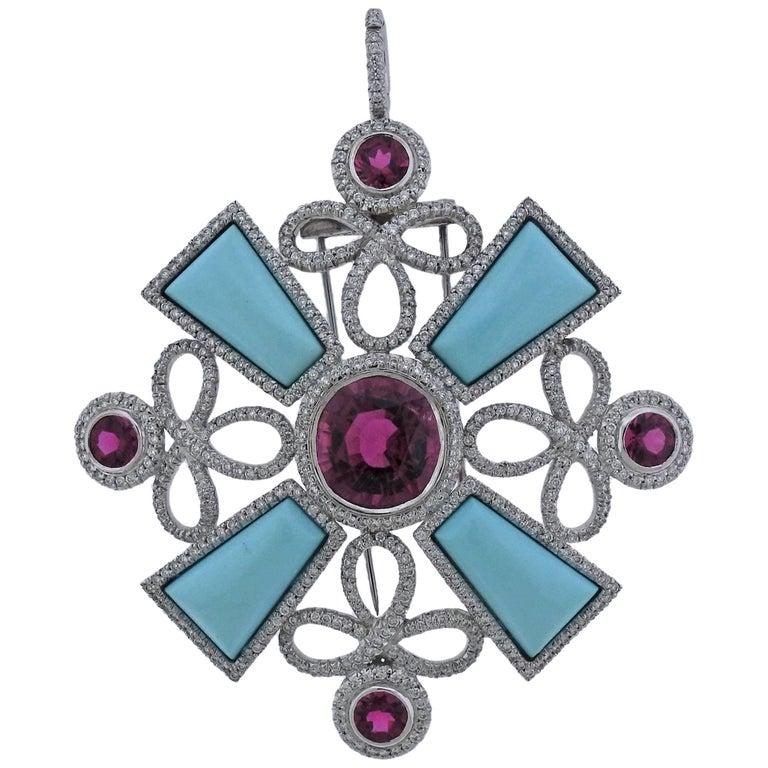 Adria De Haume Tourmaline Turquoise Diamond Gold Pendant Brooch