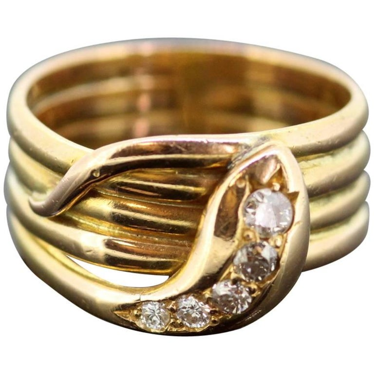 1916 Antique 18 Karat Yellow Gold Diamond Snake Band Ring