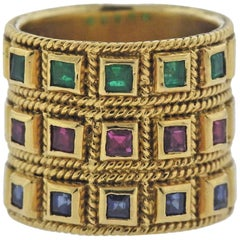 Sapphire Ruby Emerald Gold Wide Band Ring