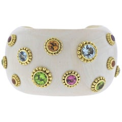 Adria De Haume Mammoth Gemstone Gold Cuff Bracelet