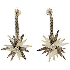 18 Karat Blackened Gold Spectacular Star Spinner Diamond Earrings