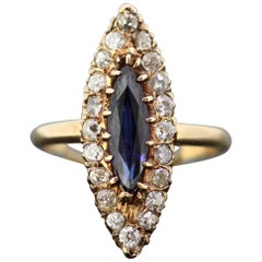 Art Deco 18 Karat Gold Blue Sapphire Marquise Diamond Ring