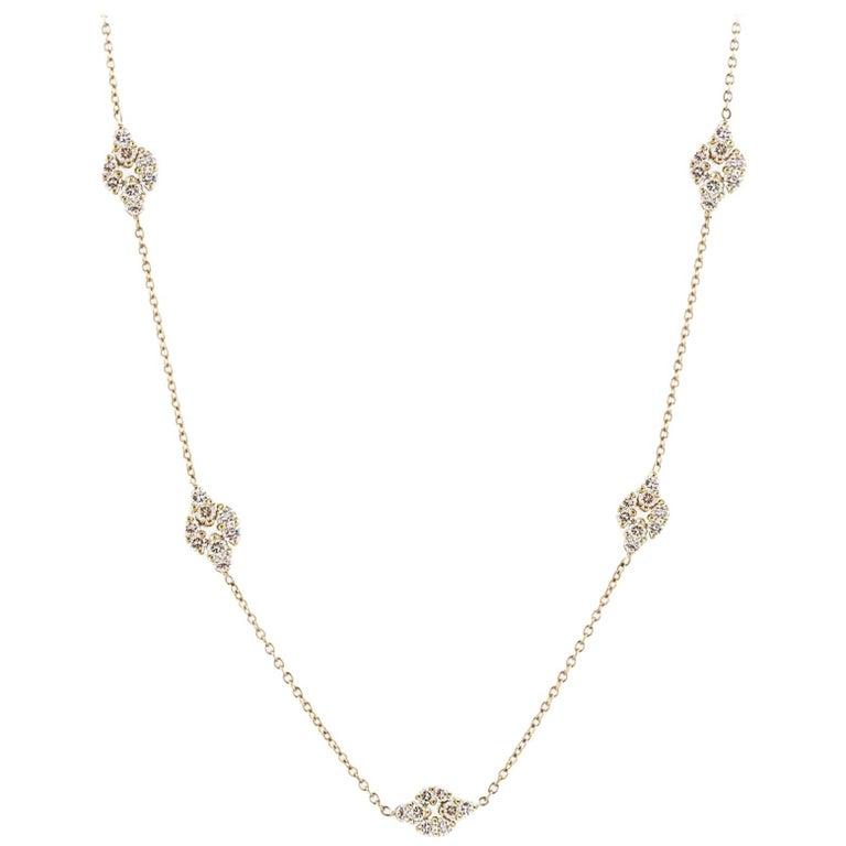 18 Karat Yellow Gold Long Chain with Diamonds