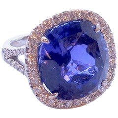 16.81 Carat Cushion-Cut Tanzanite and White Diamond Platinum Ring