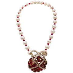 Julia Boss 18 Karat Pearl, Ruby, Rubellite, Diamond One of a Kind Necklace