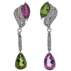 Pink Sapphire Peridot Diamond Gold Day and Night Earrings