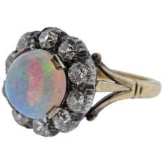 Antique Opal Diamond Gold Silver Ring