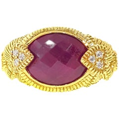 Judith Ripka African Ruby and Diamond Rope Ring