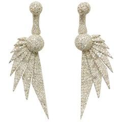 18 Karat Divine Diamond Art Deco Wing Earrings One of a Kind