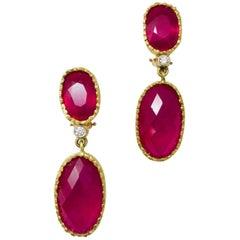 18 Karat One of a Kind Julia Boss Ravishing Ruby and Diamond Earrings