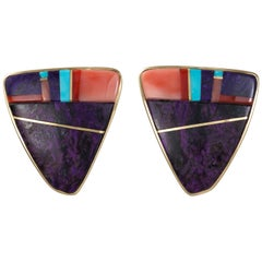 Sonwai Coral Sugilite Turquoise and Gold Clip-On Earrings