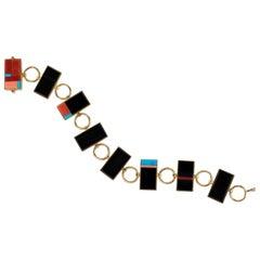 Richard Chavez, Jade Coral Turquoise and Gold Link Bracelet
