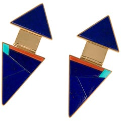 Richard Chavez, Modernist Lapis, Coral, Turquoise and Gold Earrings