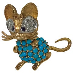1970s Whimsical Mouse Brooch Pin 18 Karat Diamond, Turquoise and Sapphire