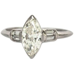 1933 Art Deco Platinum 1.00 Carat Antique Marquise Cut Diamond Engagement Ring