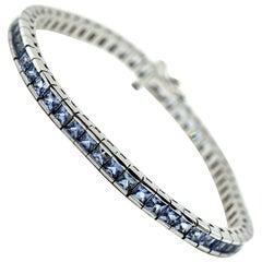 Blue Sapphire In-Line Tennis Bracelet 14k White Gold