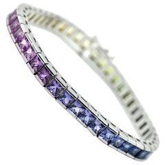 14 Karat White Gold and 17.61 Carat Rainbow Sapphire Bracelet, 23.74 Grams