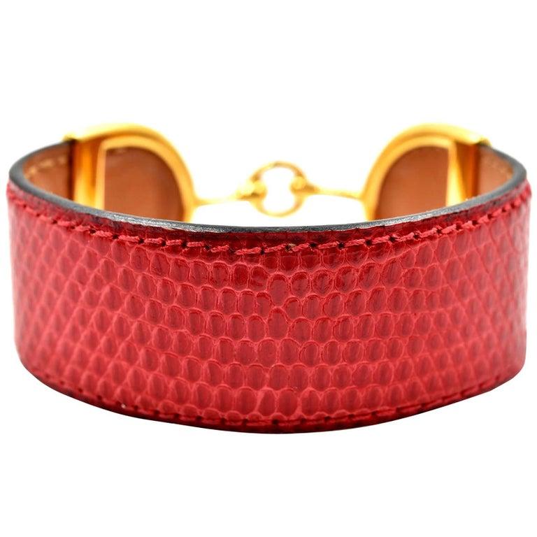 Vintage Hermes Reptile Cuff Bracelet 18k Yellow Gold