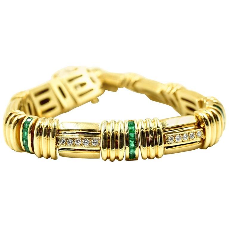 Diamond and Emerald Link Bracelet 18k Yellow Gold
