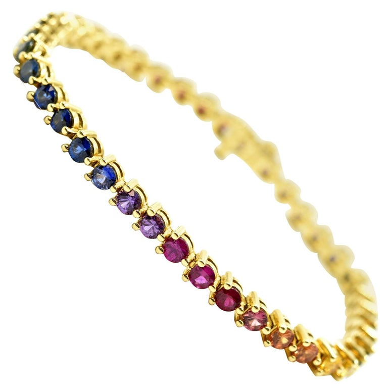 Rainbow Shire Tennis Bracelet 18k Yellow Gold For
