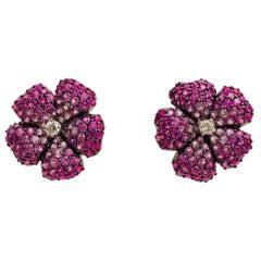 18 Karat Perfect Pink Sapphire and Diamond Flower Stud Earrings