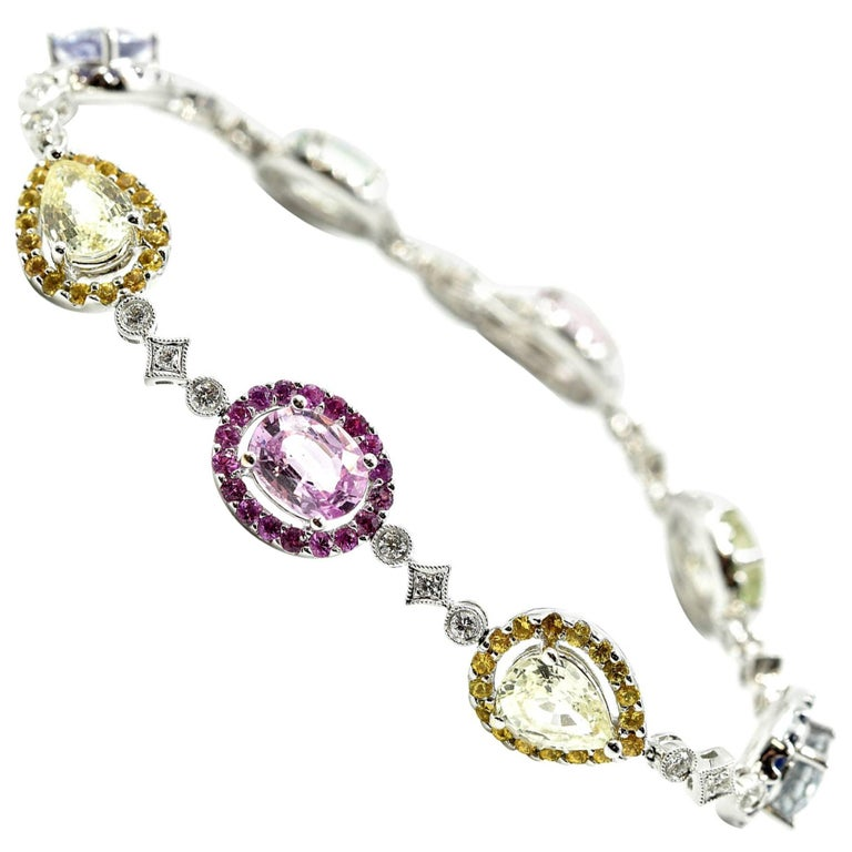Diamond and Colored Sapphire Bracelet 18k White Gold