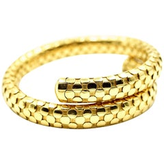 18 Karat Yellow Gold Wrap Style Bangle Bracelet 60.35 Grams