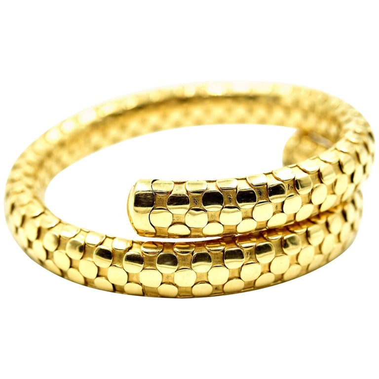 John Hardy Dot Collection Wrapping Bangle Bracelet 18k Yellow Gold