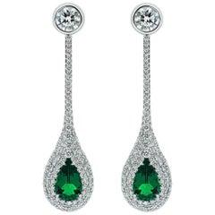 Cushla Whiting GIA cert 1.23 ct Muzo Emerald and 0.826 ct Diamond Drop Earrings