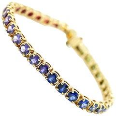Rainbow Sapphire In-Line Bracelet 14k Yellow Gold