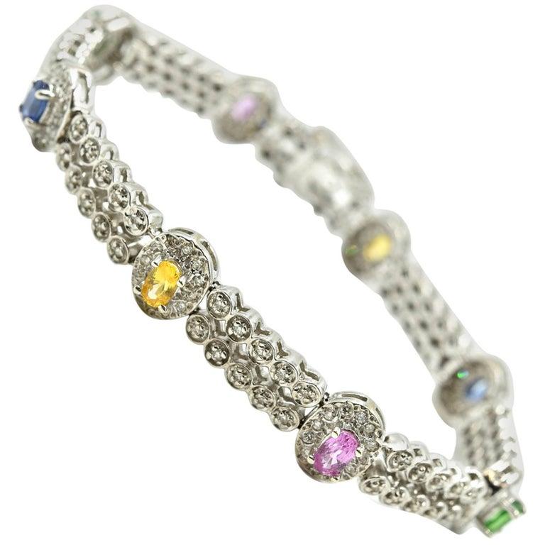 14 Karat White Gold, Diamond, Color Sapphire and Tsavorite Bracelet