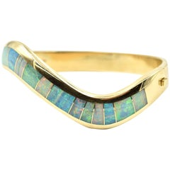 14 Karat Yellow Gold Hinged Bangle Bracelet with Opal Inlays by Mark Hileman