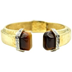 Bangle Bracelet Accented with Diamonds and Tigers Eye 18k Yellow Gold