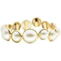 Pearl Bangle Bracelet 14k Yellow Gold